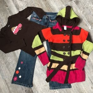Girls' Gymboree Jeans Cardigan Shirt Set Size 7